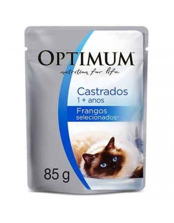 Ração Super Premium Optimum Sachê para gatos castrados sabor frango 85G