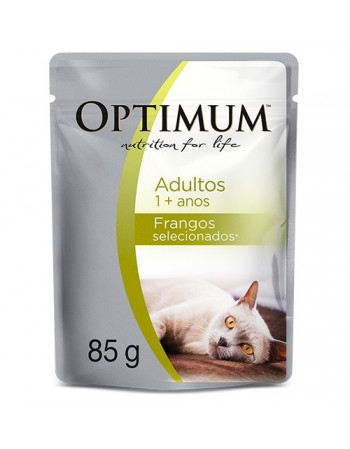Ração Super Premium Optimum Sachê para gatos adultos sabor frango 85G