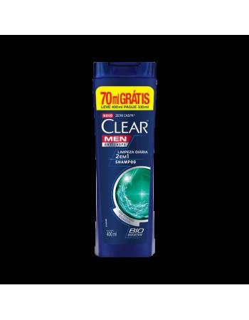 Shampoo Clear Men Anticaspa Limpeza Diária 2 em 1 Leve + Pague- 400ml